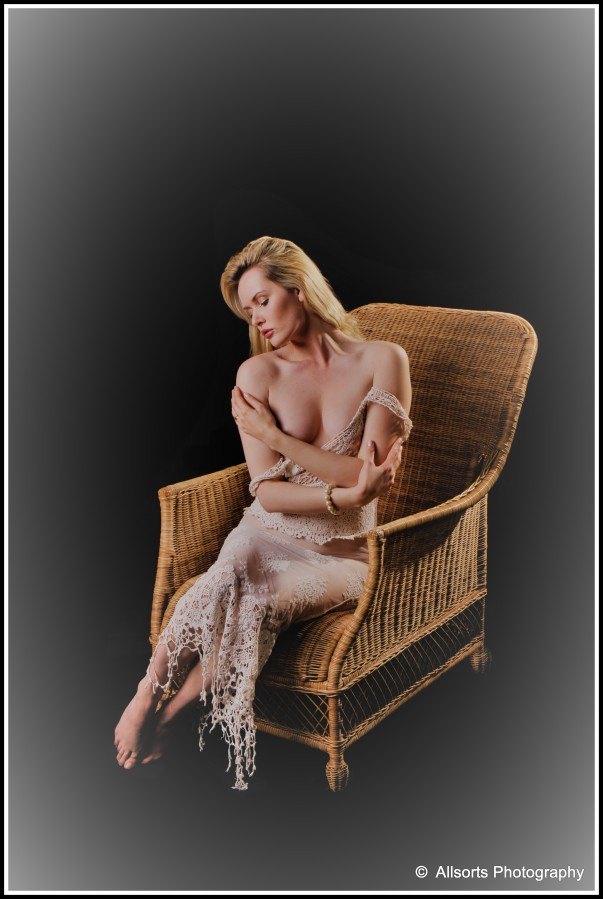Studio,Colour,Semi Nude,Wicker Chair, Lady,Blonde